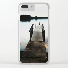 Seneca Lake Pier at Dusk - Colorized Clear iPhone Case