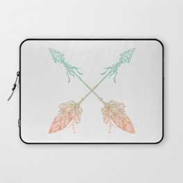Arrows Turquoise Coral on White Laptop Sleeve