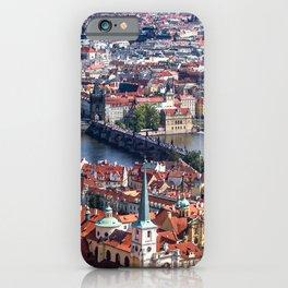 Prague Cityscape | Red Rooftop Landscape Photograph of the Old Romantic City Bridge iPhone Case
