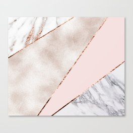 Spliced mixed rose gold marble Canvas Print