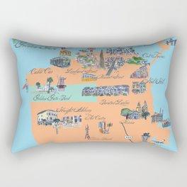 San Francisco Fine Art Print Retro Vintage Favorite Map with Touristic Highlights Active Rectangular Pillow