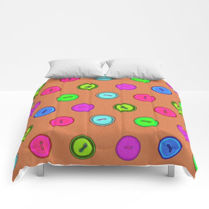 Stylish hand drawn colorful vintage buttons pattern on terracotta color Comforters
