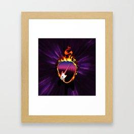 Flaming Electric Guitar Pick Framed Art Print