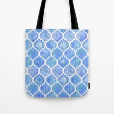 Cornflower Blue Moroccan Hand Painted Watercolor Pattern Tote Bag