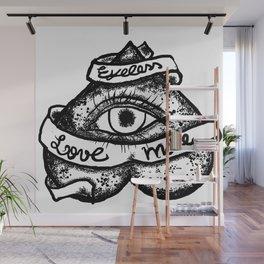 """""""Eyeless love more""""bw Wall Mural"""