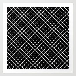 Dotted Grid 45 Black Art Print