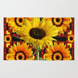 SOUTHWESTERN  BLACK COLOR YELLOW SUNFLOWERS ART Rug