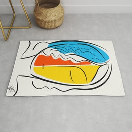 Graphic Minimal Portrait Design Orange Yellow and Blue Rug