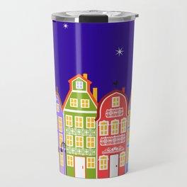 Cute Night Town Cartoon Houses Travel Mug
