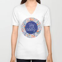coral V-neck T-shirts featuring Stay Curious – Navy & Coral by Cat Coquillette