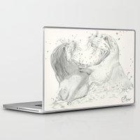 otters Laptop & iPad Skins featuring Playful Otters  by Jennifer Golla Art
