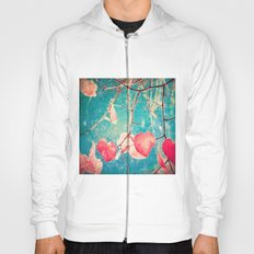 Autumn Hea(u)rts - Textured photography, pinks leafs in blue sky  Hoody