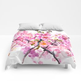 Cherry Blossom pink floral texture spring colors Comforters