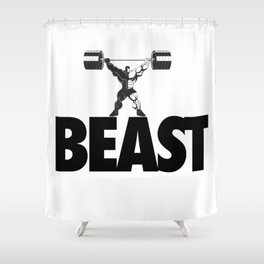 beast - heavy weight lifter bodybuilder Shower Curtain