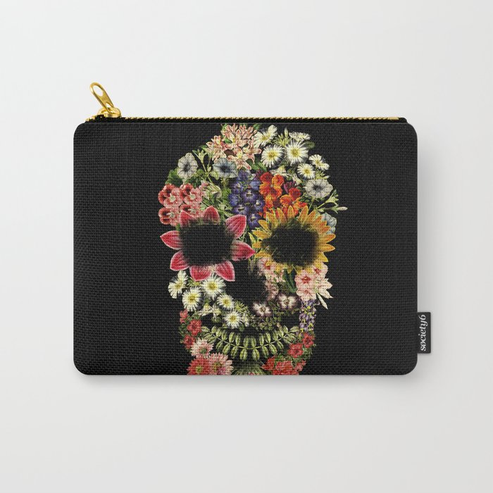 Floral Skull Vintage Black Carry-All Pouch