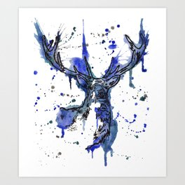 Icy Blue Stag Art Print