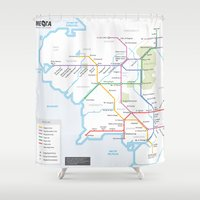 middle earth Shower Curtains featuring Middle Earth Transit Map by mehmetikberker