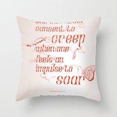 Soar - Illustrated quote of Helen Keller Throw Pillow