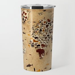 world map animals vintage Travel Mug
