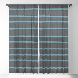 Primary Blue, Wishing Well Blue, Amazing Sky, Blue to the Bone Hand Drawn Horizontal Stripes Sheer Curtain