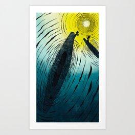 FLOATING MARKET| WOOD-CUT | BLUE |PRINT DOWNLOAD Art Print