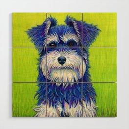 Colorful Miniature Schnauzer Dog Pet Portrait Wood Wall Art