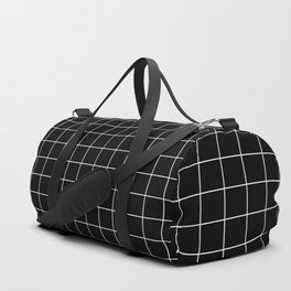 Grid Simple Line Black Minimalist Duffle Bag