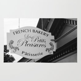 French Bakery Sign - Black and White Rug