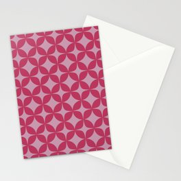 Mid Century Pink Star Bursts Stationery Cards