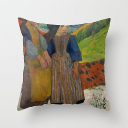 "Paul Gauguin ""Two Breton Girls by the Sea"" Throw Pillow"