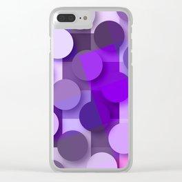 squares & dots violet Clear iPhone Case