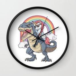Unicorn Riding Dinosaur Wall Clock