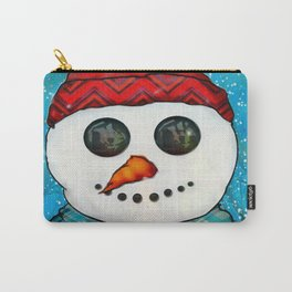 Reflections Christmas Snowman Folk Art Carry-All Pouch