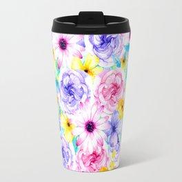 Pink lavender hand painted watercolor flowers Travel Mug