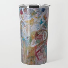 Playing in the Garden - Abstract Modern Contemporary Flowers Travel Mug