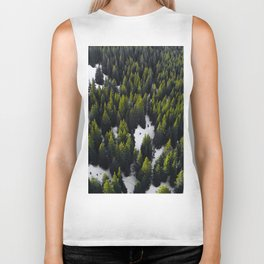 Green Evergreen Forest in Snow (Color) Biker Tank