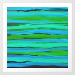 Apple Green, Seafoam, and Azure Blue Stripes Abstract Art Print