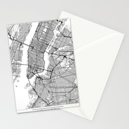 New York Map White Stationery Cards