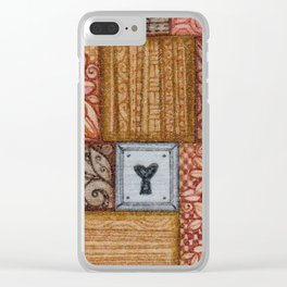 Patchwork Tiles Grains and Metal Clear iPhone Case