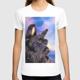 Black Terrier Dog Sunset Watercolor (Color) T-shirt