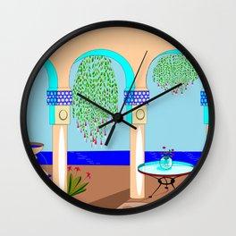 A Mediterranean Garden with Fountain Wall Clock