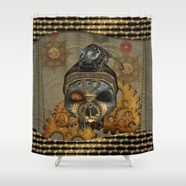 Steampunk, awesome steampunk skull with steampunk rat Shower Curtain