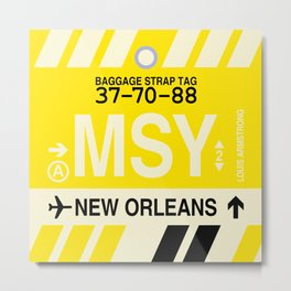 MSY New Orleans • Airport Code and Vintage Baggage Tag Design Metal Print