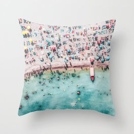 Aerial Beach Print, Printable Poster, Wall Art, Beach Decor, Aerial Beach Photography Prints Throw Pillow