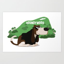 Hollywood Basset Hound Art Print