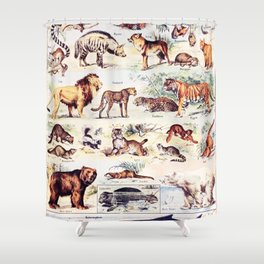 Vintage Antique Wildlife Encyclopedia Print Shower Curtain