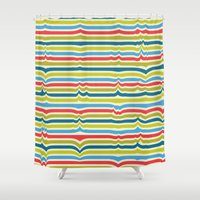 arya Shower Curtains featuring Disturbed Stripes by Hinal Arya