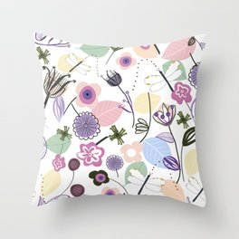 Abstract flowers and dragonfly pastel colored floral spring pattern Throw Pillow