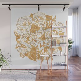 Gold Floral Poppy Circle Wall Mural