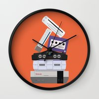 nintendo Wall Clocks featuring Nintendo Consoles by Michael Walchalk